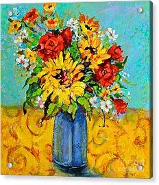 Damask Sunflowers Acrylic Print by Sharon Furner