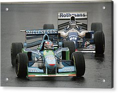 Damon Hill And Michael Schumacher Acrylic Print by Pascal Rondeau