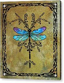 Damselfly Nouveau Acrylic Print by Jenny Armitage