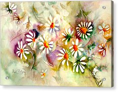 Dance Of The Daisies Acrylic Print by Neela Pushparaj