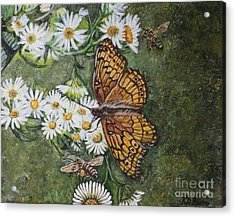 Acrylic Print featuring the painting Dance With The Daisies by Kimberlee Baxter