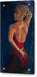 Dancer In Red Acrylic Print by Peter Turner