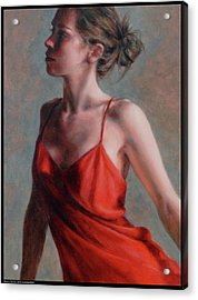 Dancer In Red Slip Acrylic Print by Diana Moses Botkin