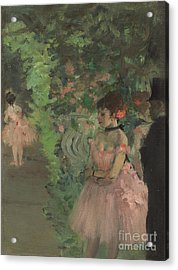 Dancers Backstage Acrylic Print by Edgar Degas