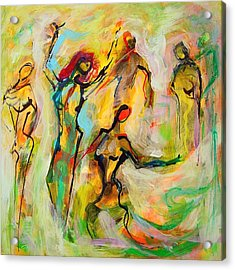 Dancers Acrylic Print by Mary Schiros
