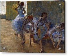 Dancers On A Bench, 1898 Acrylic Print by Edgar Degas