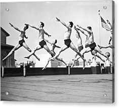 Dancers Practice On A Rooftop. Acrylic Print by Underwood Archives