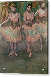 Dancers Wearing Salmon Colored Skirts Acrylic Print by Edgar Degas