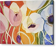 Acrylic Print featuring the painting Dancing Anemones by Shirin Shahram Badie