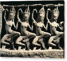Dancing Apsaras. 13th C. Khmer Art Acrylic Print by Everett