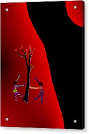 Acrylic Print featuring the digital art Dancing Around A Tree by Asok Mukhopadhyay