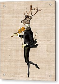 Dancing Deer With Violin Acrylic Print by Loopylolly