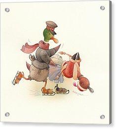 Dancing Ducks 03 Acrylic Print by Kestutis Kasparavicius