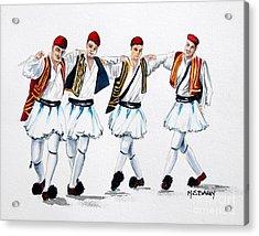 Dancing Evzones Acrylic Print by Maria Barry