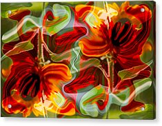 Acrylic Print featuring the painting Dancing Flowers by Omaste Witkowski