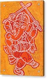 Dancing Ganesha Orange Acrylic Print