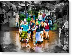 Dancing In The Rain Acrylic Print by John Haldane