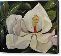 Acrylic Print featuring the painting Dancing Magnolia by Sandra Nardone