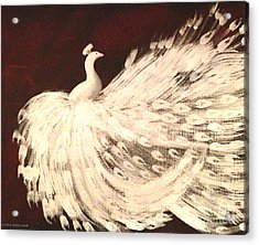 Dancing Peacock Cream Acrylic Print by Anita Lewis