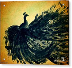 Acrylic Print featuring the painting Dancing Peacock Gold by Anita Lewis