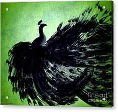 Dancing Peacock Green Acrylic Print by Anita Lewis