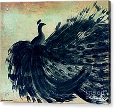 Acrylic Print featuring the painting Dancing Peacock Mint by Anita Lewis