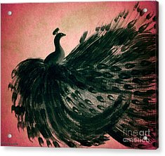 Acrylic Print featuring the digital art Dancing Peacock Pink by Anita Lewis