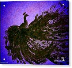 Acrylic Print featuring the digital art Dancing Peacock Vivid Blue by Anita Lewis