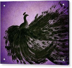 Dancing Peacock Vivid Purple Acrylic Print by Anita Lewis