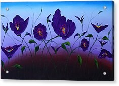 Dancing Purple Poppies 1 Acrylic Print by Portland Art Creations