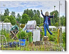 Acrylic Print featuring the photograph Dancing Scarecrow In The Garden by Maria Janicki