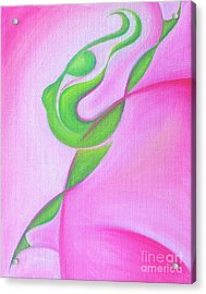 Acrylic Print featuring the painting Dancing Sprite In Pink And Green by Tiffany Davis-Rustam