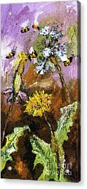 Dandelions And Bees Modern Expressionism Acrylic Print