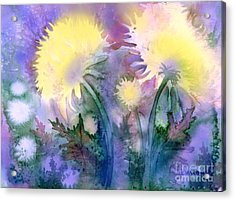 Acrylic Print featuring the painting Dandelions by Teresa Ascone