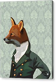 Dandy Fox Portrait Acrylic Print by Kelly McLaughlan