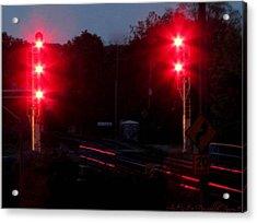 Danger Train Signals On Acrylic Print by Danielle  Parent