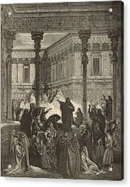 Daniel Confounding The Priests Of Bel Acrylic Print by Antique Engravings
