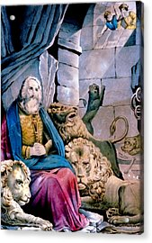 Daniel In The Lions Den Acrylic Print by Currier and Ives