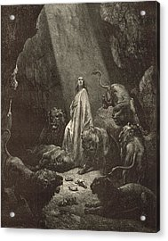 Daniel In The Lions' Den Acrylic Print by Antique Engravings