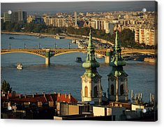 Danube River And Budapest, Hungary Acrylic Print by Chlaus Lotscher