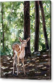Acrylic Print featuring the painting Dappled Innocence by Mary McCullah