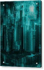 Acrylic Print featuring the digital art Dark City by Martina  Rathgens