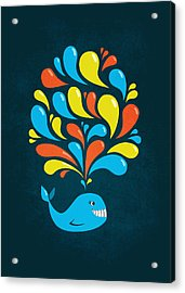 Dark Colorful Splash Happy Cartoon Whale Acrylic Print