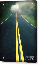 Dark Foggy Country Road Acrylic Print