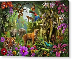 Acrylic Print featuring the drawing Dark Jungle Temple And Tigers by Ciro Marchetti