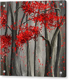 Dark Passion- Red And Gray Art Acrylic Print