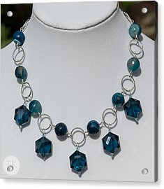 Dark Turquoise Crystal And Faceted Agate Necklace 3676 Acrylic Print by Teresa Mucha