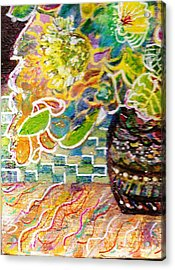 Dark Vase With Flowers On Table Acrylic Print by Anne-Elizabeth Whiteway