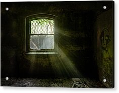 Acrylic Print featuring the photograph Darkness Revealed - Basement Room Of An Abandoned Asylum by Gary Heller
