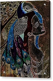 Darkside Peacock Woman Acrylic Print by Amy Sorrell